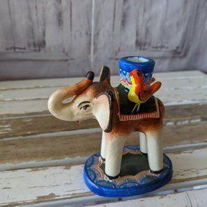 Vintage elephant candlestick holder Mexican folk a